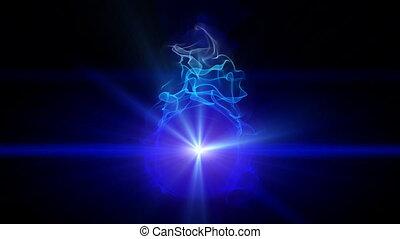 brûler, bleu, magie