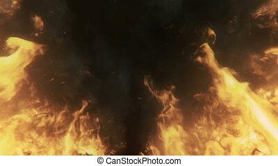 brûler, boucle, grand, brûlé, flammes