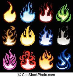 brûler, brulure, flamme, flamme, icône