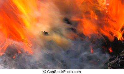 brûler, charbon, étincelles, forge