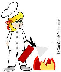 brûler, chef cuistot, mettre, cuisine, dehors