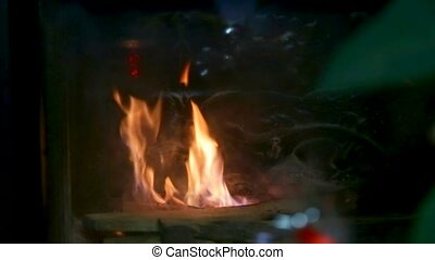 brûler, cheminée, brûlures