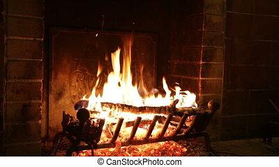 brûler, cheminée, pierre, ancien, brûlures
