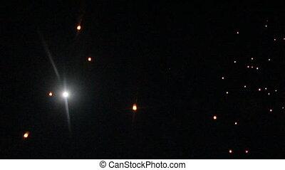 brûler, ciel nuit, lanterne, lune