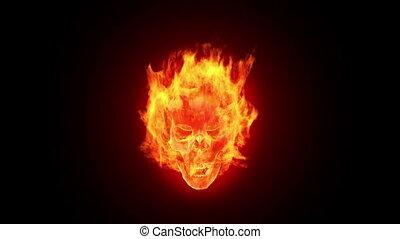 brûler, crâne, hd, boucle