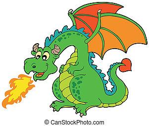 brûler, dessin animé, dragon