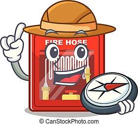 brûler, dessin animé, explorateur, forme, cabinet, tuyau