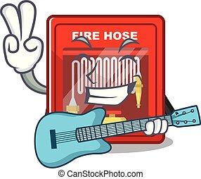 brûler, dessin animé, forme, cabinet, tuyau, guitare