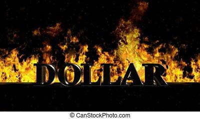 brûler, dollar, chaud, mot, brûlé