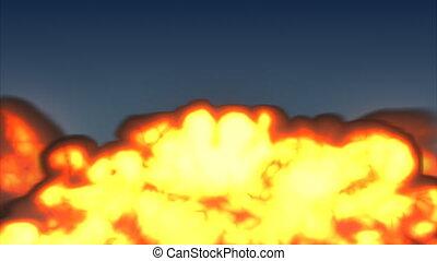 brûler, explosion, deux