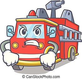 brûler, fâché, camion, dessin animé, mascotte