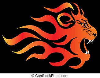brûler, fâché, noir, lion