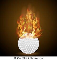 brûler, flamme, balle, golf, brûlé