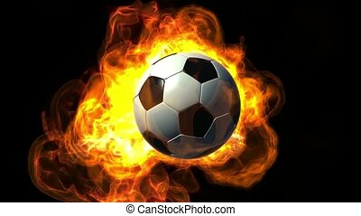 brûler, football, animé, balle