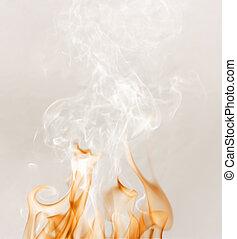 brûler, fumée, blanc
