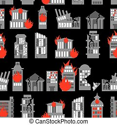 brûler, guerre, city., ruines, seamless, fond, -, ruiné, ravaged, homes., ville, pattern., bâtiments.