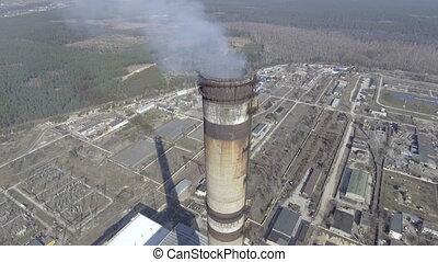 brûler, haut, charbon, puissance, fin, aérien, station