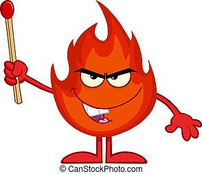 brûler, haut, mal, crosse, tenue, allumette