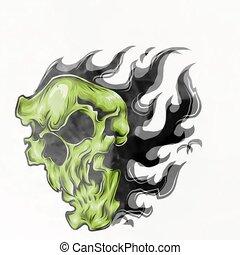 brûler, illustration, crâne, flammes