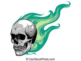 brûler, illustration, vecteur, flammes, crâne