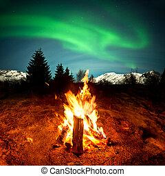 brûler, lumières, camp, nord, regarder