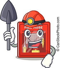 brûler, mineur, dessin animé, forme, cabinet, tuyau