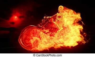 brûler, motard, squelette