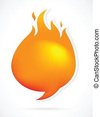 brûler, parole, chaud, bulles