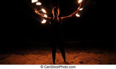brûler, performance, femme, plage