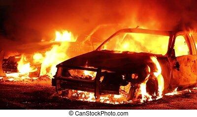 brûler, pleinement, impliqué, police, voitures