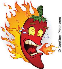 brûler, poivre, piment, chaud, dessin animé