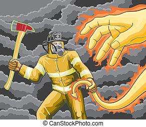 brûler, pompier, combats, démon