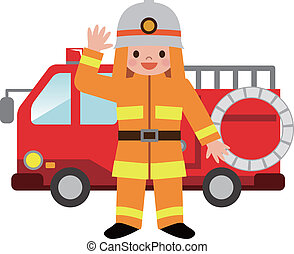 brûler, pompiers, camion, childre