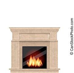 brûler, réaliste, cheminée, isolé, marbre