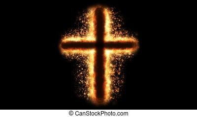 brûler, religieux, croix