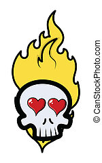 brûler, rigolote, romantique, crâne