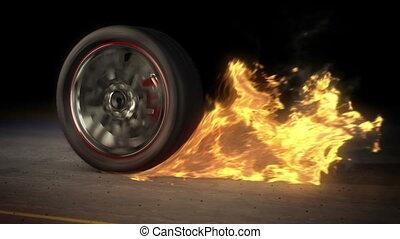 brûler, roue, boucle, burnout