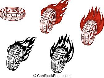 brûler, roues