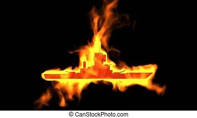 brûler, symbole, bateau, chaser, brûlé