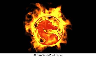 brûler, symbole., dragon