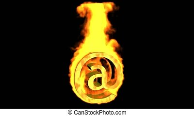 brûler, symbole, mail., internet