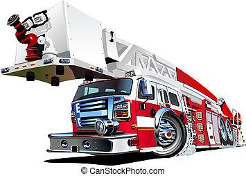 brûler, vecteur, camion, dessin animé