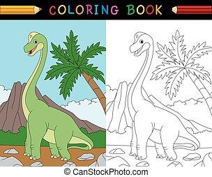 brachiosaurus, livre coloration, dessin animé