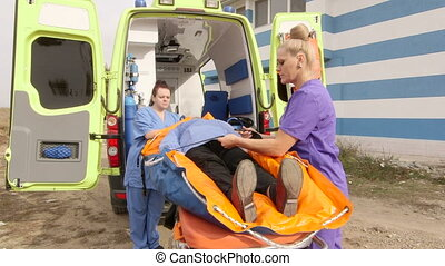 brancard, patient, service cas urgent, infirmiers, monde médical, femme, ambulance