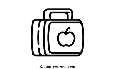 branché, lunchbox, animation, icône
