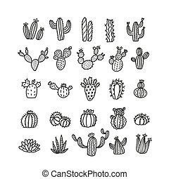 branché, vecteur, désert, il, illustration., timbre, cactus, ou, mono, carte postale, ensemble, utilisé, -, fleurs, esquissé, être, cactus, print., style, deco., withoup, boîte, art, ligne, pots.