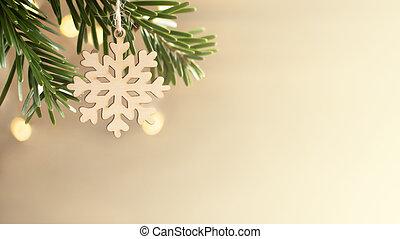 branche, bannière, concept., flocon de neige, arbre noël, eco, fond, bois, horizontal, wall., amical, gaspillage, espace copy, zéro