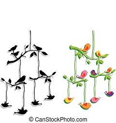 branche, vecteur, arbre, oiseaux