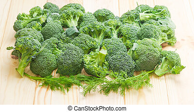 branches, aneth, bois, brocoli, surface, tas