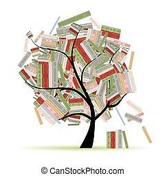 branches, arbre, bibliothèque, livres, conception, ton